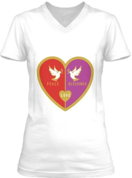 Peace Love Blessings V-Neck