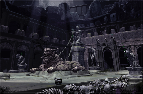 Early concept art of The Necropolis, where the Arch Lich Tyball rules.