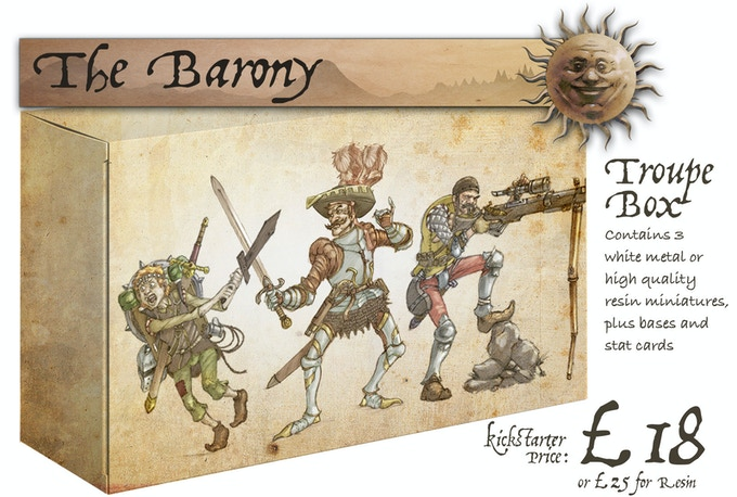 The Barony box set contains: Eric The Squire, Baron Von Fancyhat and Flintlock. This box is included in the Starter Set.