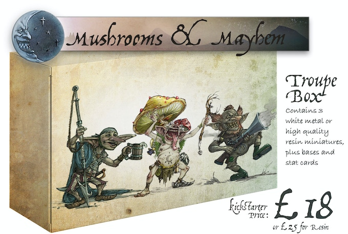 Mushrooms & Mayhem box contains: Seasick Steve, Shabaroon and Boom Boom McBoom. This box is included in the Complete Wave 1 Pledge.