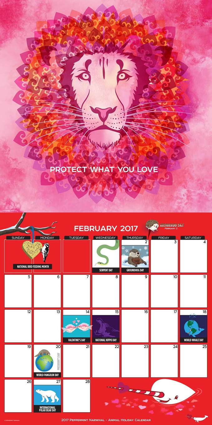 2017 Calendar of Animal Holidays by Peppermint Narwhal