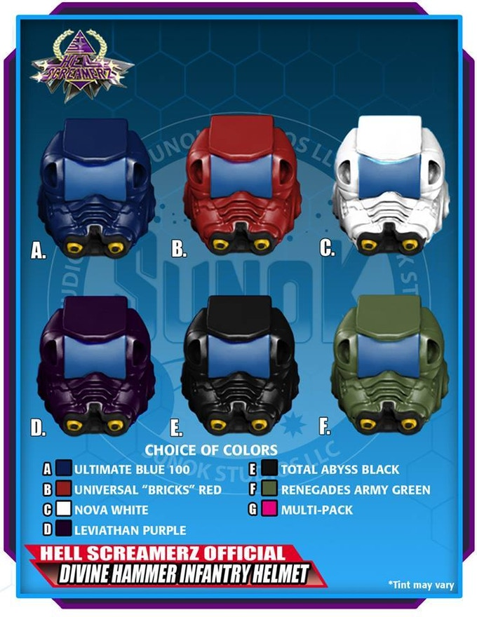 Divine Hammer Infantry Helmet Pack (blue visors) to be offered in sets of 5 (same color) or a multipack (1 of each of the 6 colors)