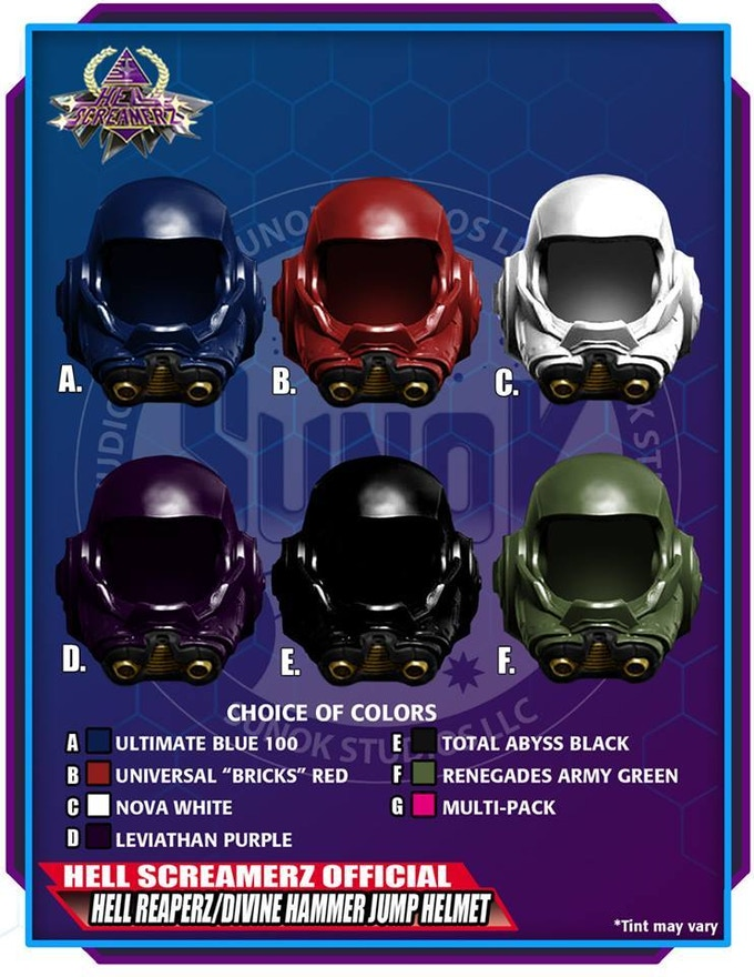 Hell Reaperz / Divine Hammer Jump Trooper Helmet Pack to be offered in sets of 5 (same color) or a multipack (1 of each of the 6 colors)