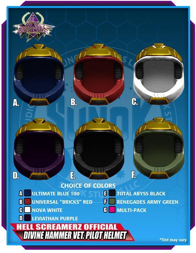 Divine Hammer Vet. Pilot Helmet Pack to be offered in sets of 5 (same color) or a multipack (1 of each of the 6 colors)