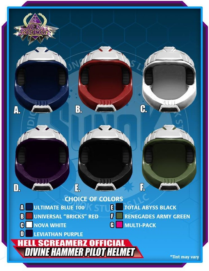 Divine Hammer Pilot Helmet Pack to be offered in sets of 5 (same color) or a multipack (1 of each of the 6 colors)