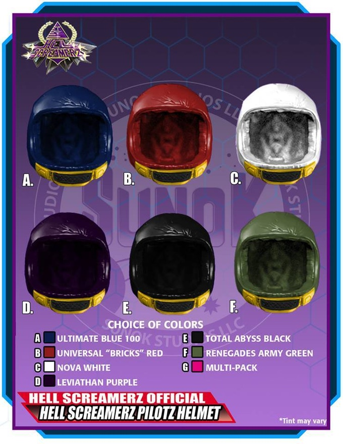 Hell Screamerz Pilotz Helmet Pack to be offered in sets of 5 (same color) or a multipack (1 of each of the 6 colors)