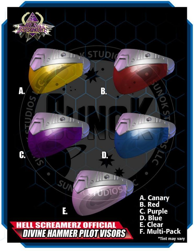 Divine Hammer Pilot Visor Pack to be offered in sets of 5 (same color)
