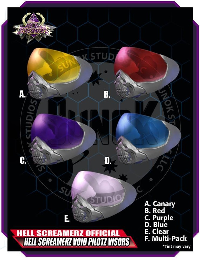 Hell Screamerz Void Pilotz Visor Pack to be offered in sets of 5 (same color)