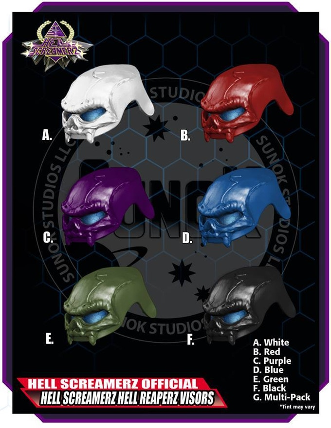Hell Screamerz Hell Reaperz Visor Pack to be offered in sets of 5 (same color)