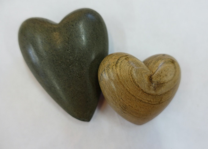 $25 - Carved heart, river stone.