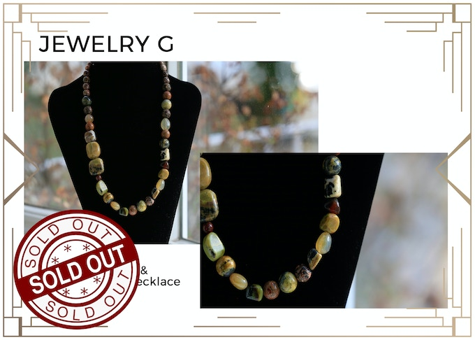 MINIMUM $333 DONATION for this Prize and other prize tiers below it!  A Gentle Agate and Jasper Necklace. In some Native American cultures, Jasper is traditionally used for rain making. Only 1 available! SOLD OUT!!!