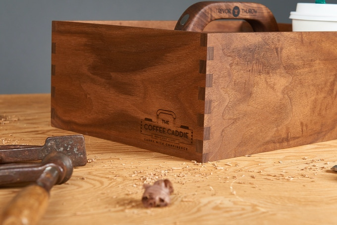 The Coffee Caddie is made of solid walnut with continuous grain box joints around the corners. The detail has been proven to stop people in their tracks!