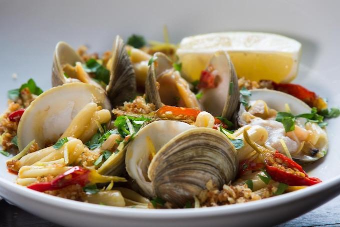 Passatelli pasta with littleneck clams, calabrian chili and smoked pecorino