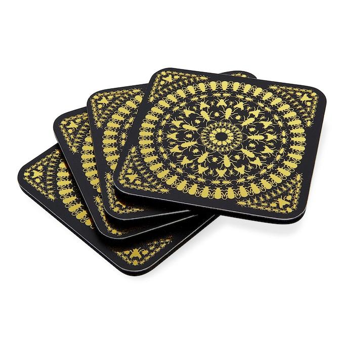 INSECT MANDALA: Set of 4 Gold Foil Coasters