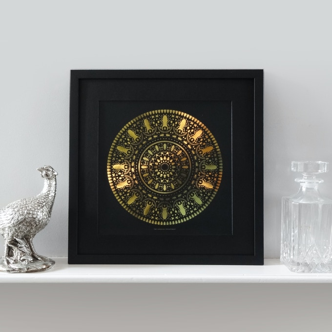 INSECT MANDALA: Framed Gold Foil Print