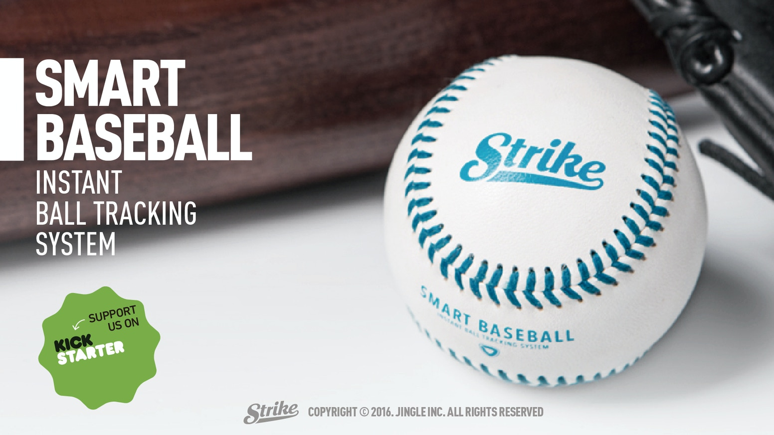 Strike, the world's first smart baseball can detect and display the speed, spin rate and pitching trajectory of each throw of the ball.