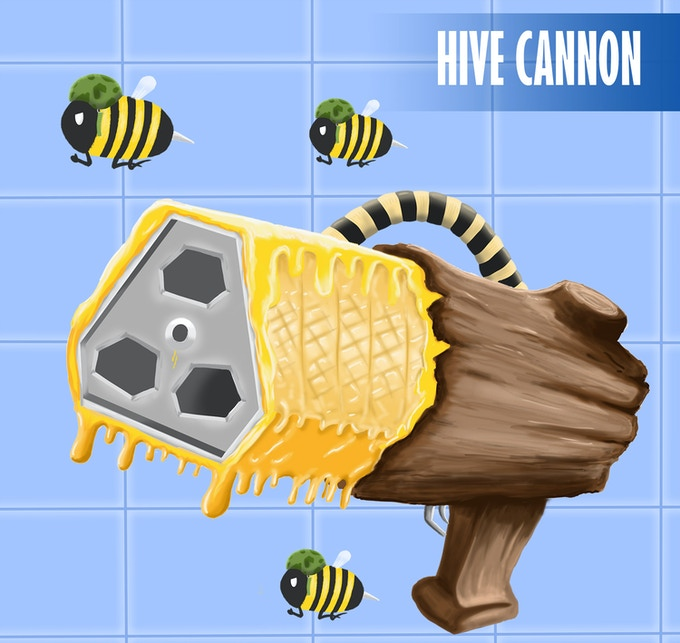 The Hive Cannon: A literal fist-full of angry swarming bees!