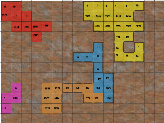 Satellite Terran Territory Control map. Each number represents the war value of each territory.