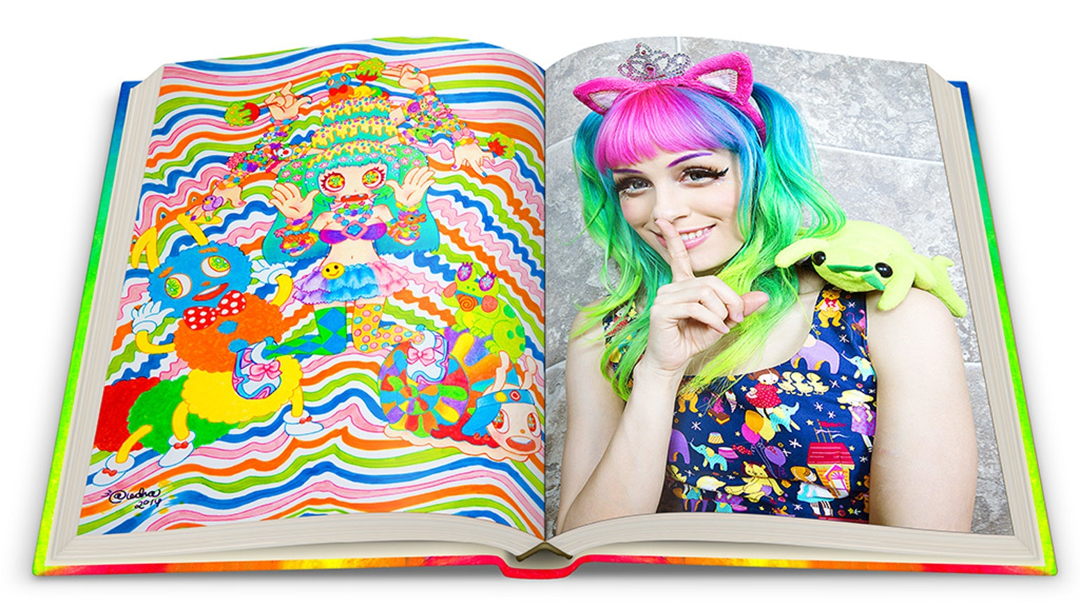 Beautifully shot, designed & produced hardcover coffee table art book of Audra colorful kawaii style, illustrations, desserts & nudes.
