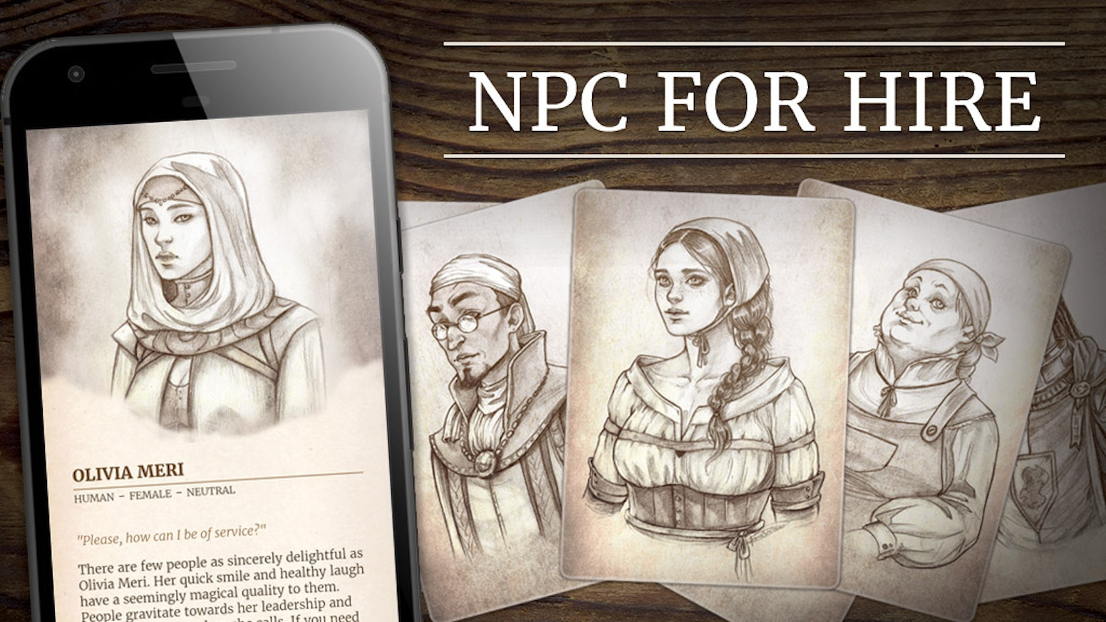 This beautifully designed print and mobile aid will change the way you manage your non-player characters for fantasy tabletop RPGs.