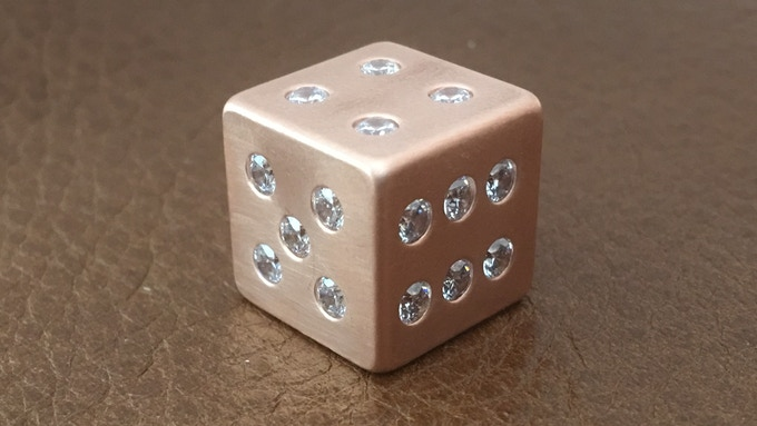 Solid Pure Copper Dice with 21 Stones