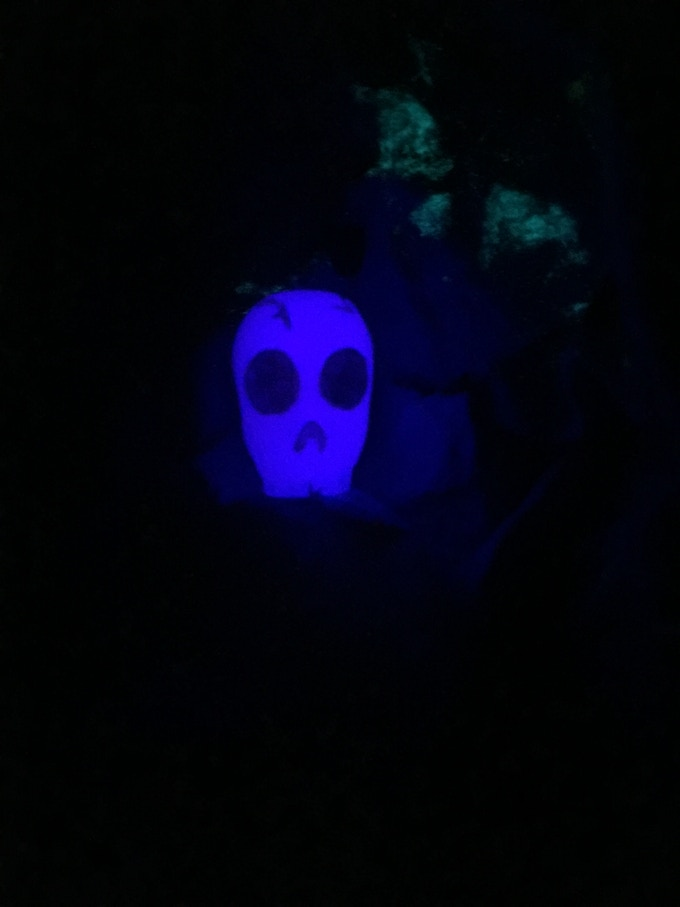 Skull element out of die at night