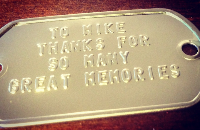 PERSONALIZED MESSAGE STAMPED IN STAINLESS STEEL SEALED ON GLORY GEARS GAME BOARD (EXAMPLE)