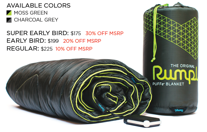 The Puffe- Blanket in Synthetic Fill. Reward includes: Blanket, Stuff Sack, Battery, and Power Supply.