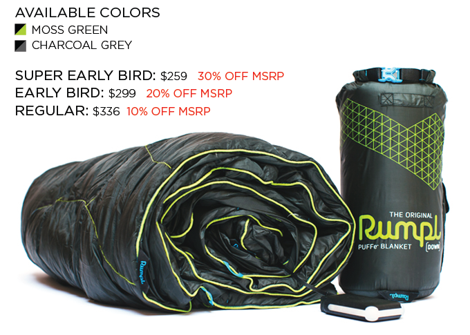 The Puffe- Blanket in Natural Down Fill. Reward includes: Blanket, Stuff Sack, Battery, and Power Supply.