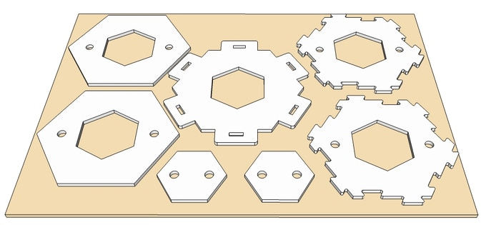 Extra tools included in the Super Pro Maker reward (note that the Hex cutout tabbed hex brace - in the centre of the picture - is an upgrade from its basic equivalent in the Hill Maker reward).
