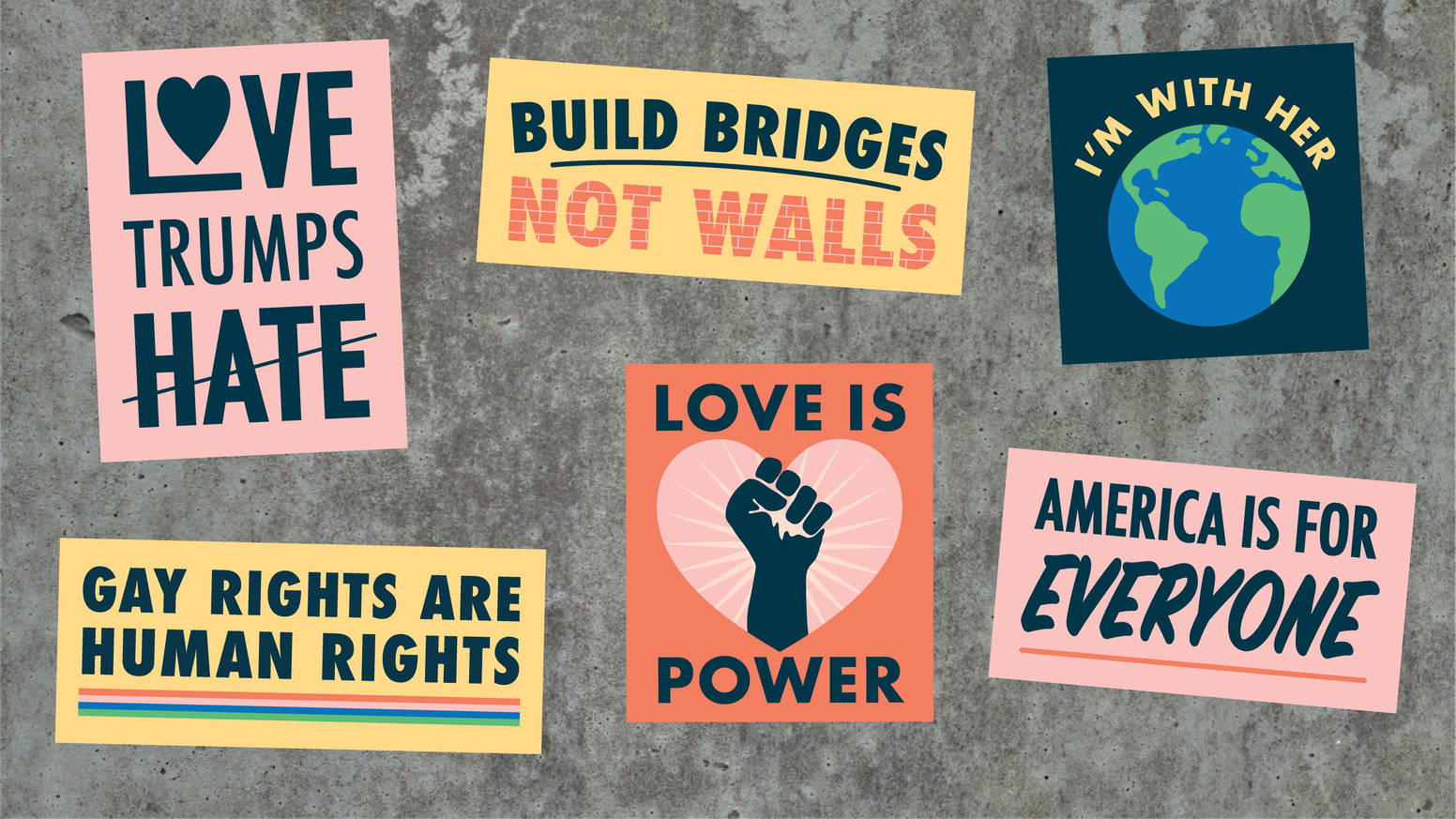 Help us to produce and distribute stickers (and buttons) with messages of hope, love, and change.