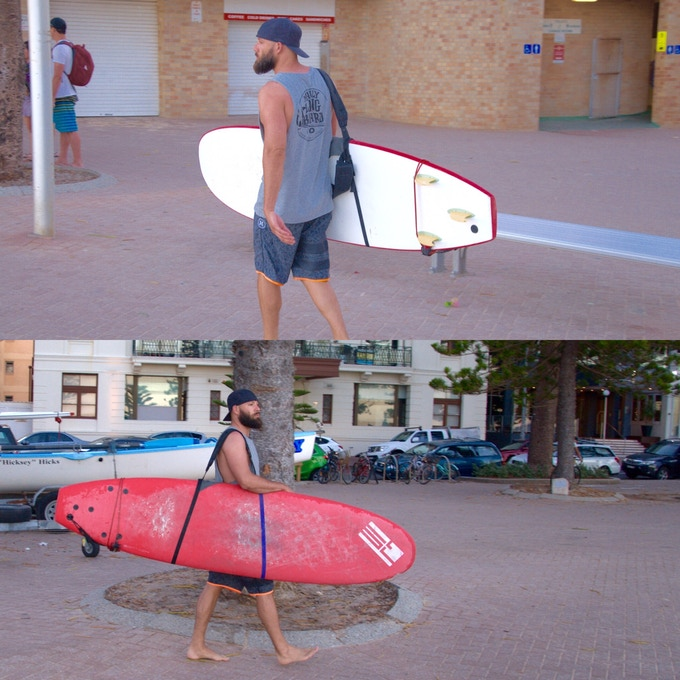 Use the same straps to make longboard carrying easier