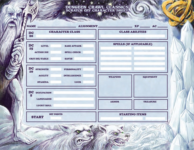 Art for the scratch-off character sheet