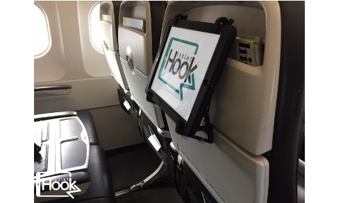 TabletHookz™ mounted to an airline seat