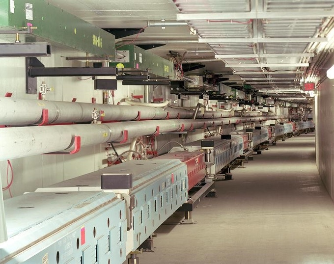 Particle accelerator tunnel containing a proton accelerator (lower ring called the Main Injector) and an antiproton storage ring (upper ring called the Recycler).