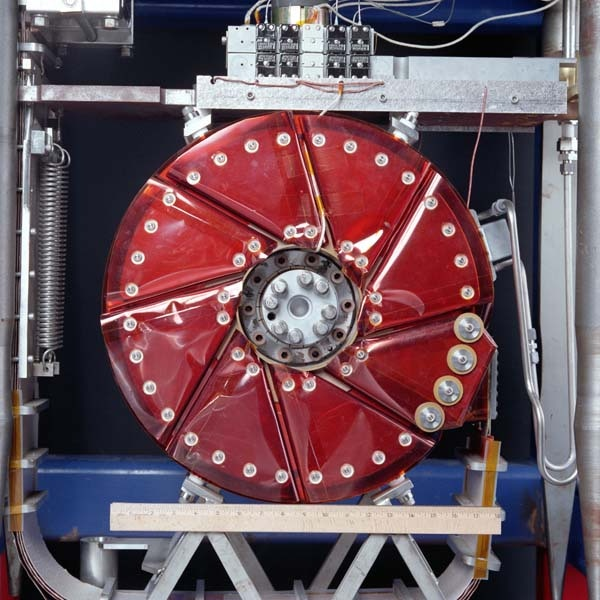 Fermilab lithium lens used to focus antiprotons formed in a thick target.