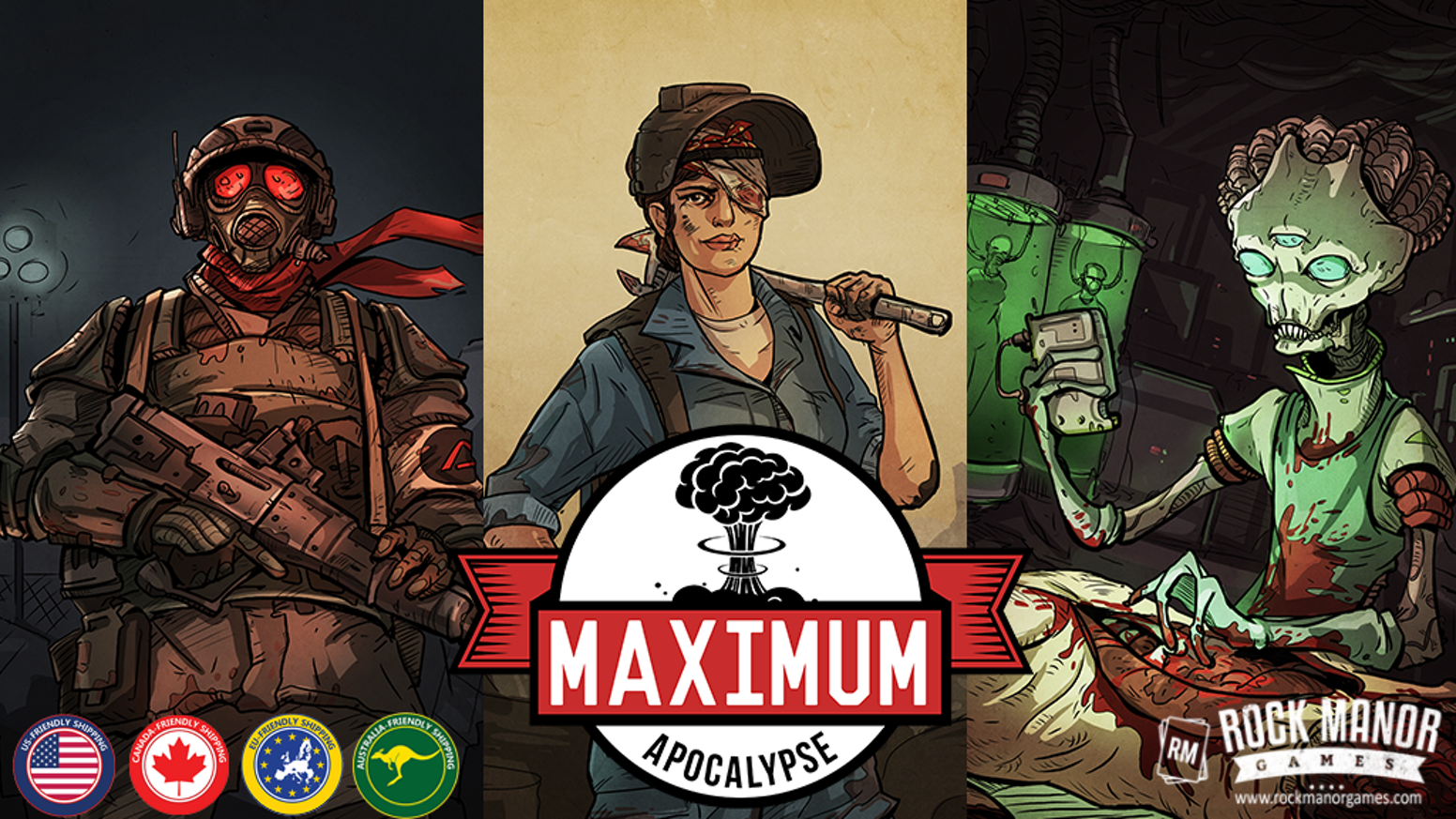 Survivors must explore, sneak, scavenge and kill to survive the apocalypse in this cooperative board game for 1-6 players.