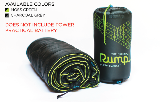 The Puffe- Blanket in Synthetic Fill. Reward includes: Blanket and Stuff Sack ONLY. Does not include the Power Practical battery.