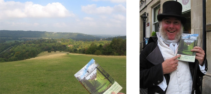 John and Saskia took a stroll on Box Hill  and visited Bath in September 2014. Martin, the greeter of the Jane Austen Centre (click on photo for their website ), was so kind to pose for them with Het Engeland van Jane Austen!