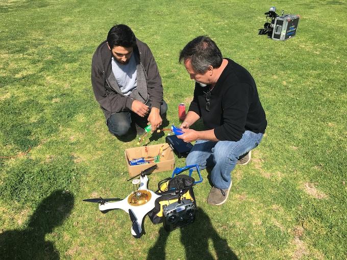 Dan field testing an older prototype.