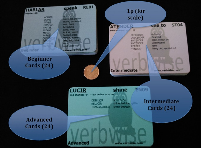 Cards: 98mm x 68mm. 350 gsm. Thickness of 24 cards approx. 9mm.