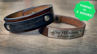 Memory bracelet - Handmade leather bracelet and engraving
