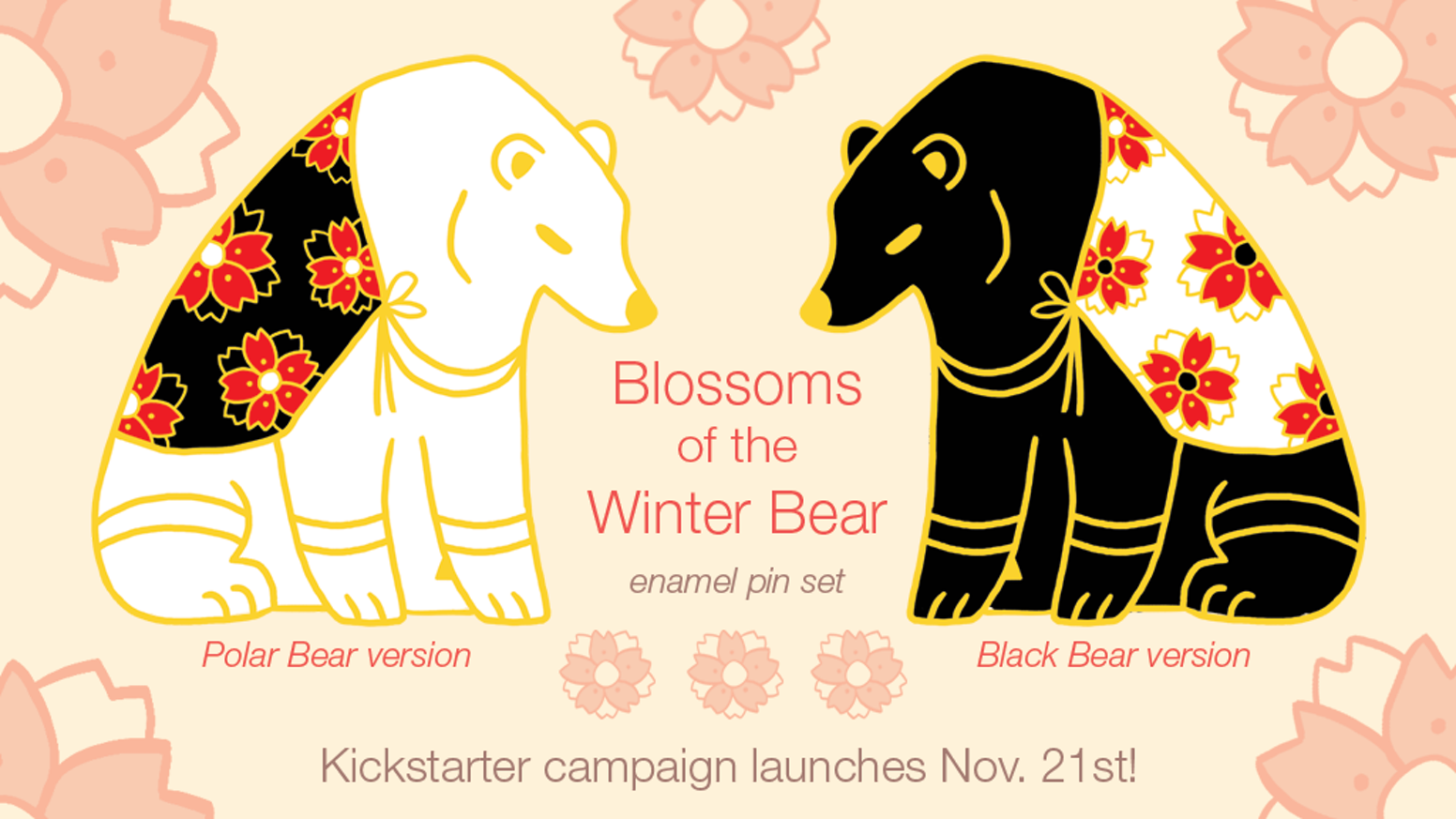 blossoms of the winter bear enamel pin set by shirley. Black Bedroom Furniture Sets. Home Design Ideas