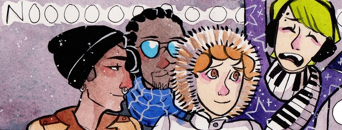 The four main characters of IZ: Orson, Martin, Robbie, and Neve