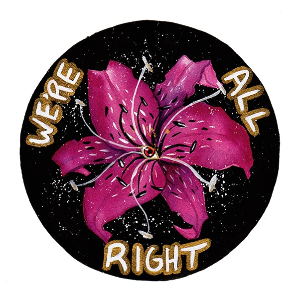 Scanned design for the patch, featuring Vaidya's pink flower.