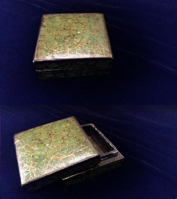 Green, Gold & Black Wooden Trinket Box