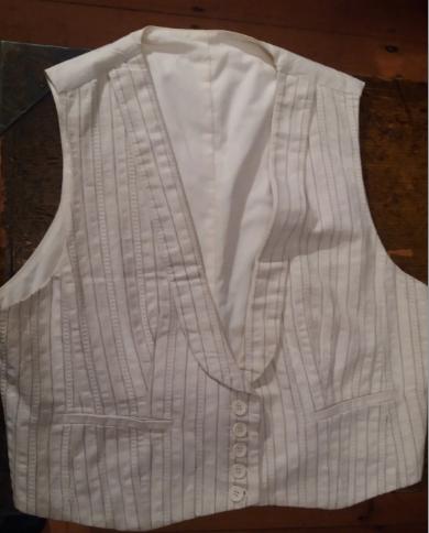 Men's Cream Striped Cotton Waistcoat