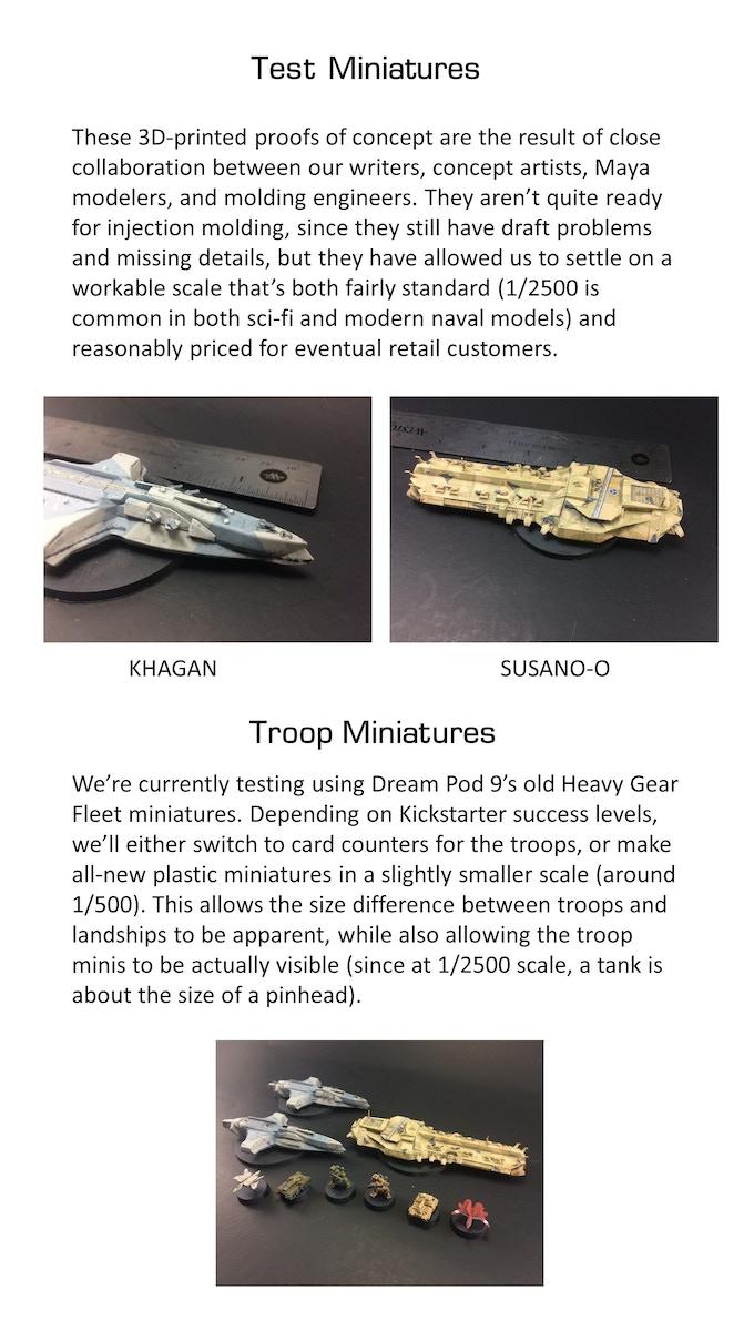 Photos of 3D printed test miniatures
