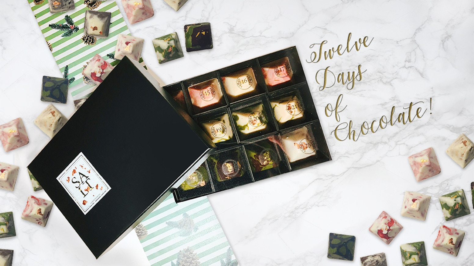 Ho ho ho! Countdown to Christmas with a box of twelve beautifully crafted artisanal chocolates!