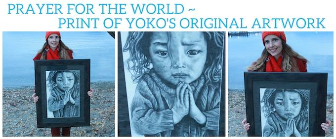 21.5 x 14.5 inches- art print of Yoko's original drawing (no frame)